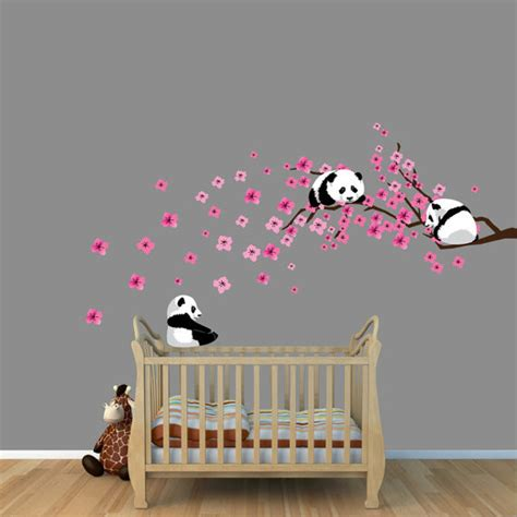 decals nursery walls panda cherry tree wall decals by nursery decals and more