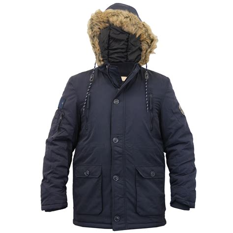 Hooded Coat mens parka jacket crosshatch coat hooded padded quilted