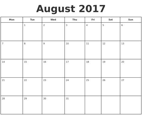 printable monthly calendar 2017 monday start printable calendar monday to sunday calendar template 2016