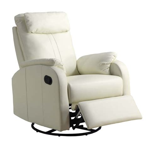 ivory leather recliner leather swivel rocker recliner in ivory i8081iv