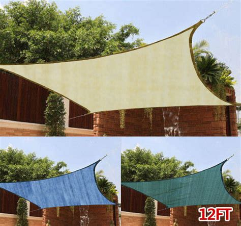 garden sail awning 12ft square outdoor patio sun sail shade cover canopy top