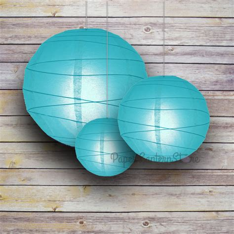 How To Make Circle Paper Lanterns - 8 12 16 quot turquoise paper lanterns irregular ribbing