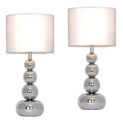 bedroom side table lamps pair of modern chrome touch table