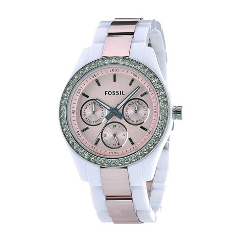 Fossil Blade Silverwhite fossil s es2802 plastic bracelet fixed silver tone bezel set with crystals