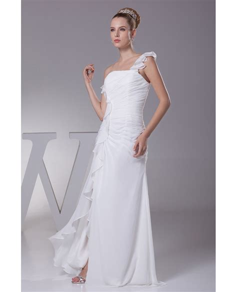 simple ruffled  shoulder chiffon long bridal dress