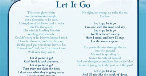 let it go sing quot let it go quot with this lyric sheet frozen