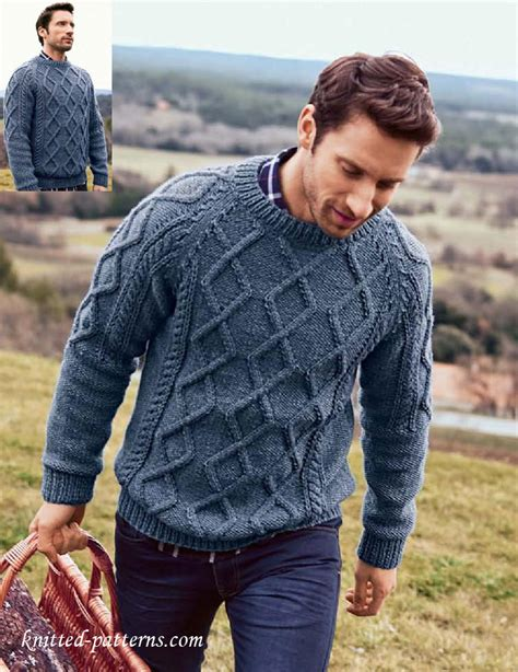 free mens aran jumper knitting pattern s cable sweater knitting pattern free