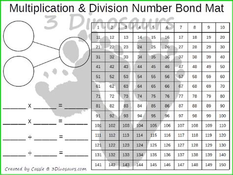 Division Mat by Multiplication Division Number Bond Mat 3 Dinosaurs