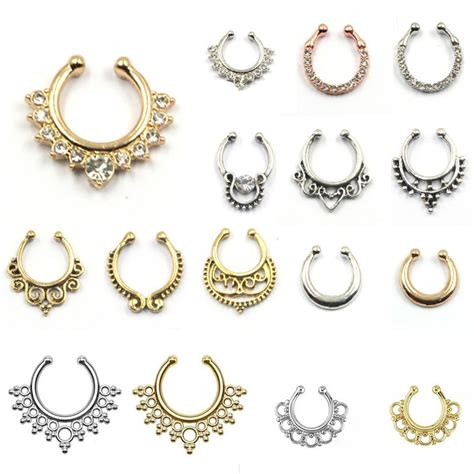 sale septum nose ring piercing clip on