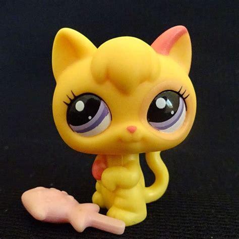 bobblehead lps littlest pet shop 2512 standing yellow kitten cat lps