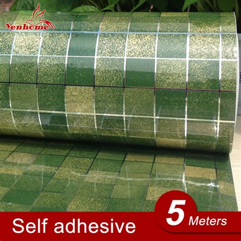 Wallpaper Sticker 5 Meter 2 5meter pvc mosaic wall paper modern self adhesive wallpaper bathroom kitchen waterproof tile