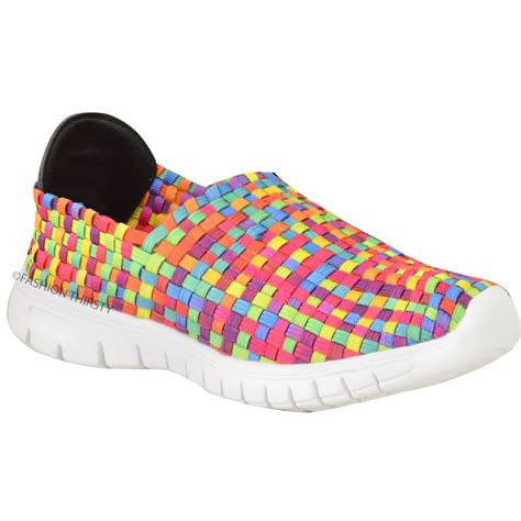 stretch sneakers new womens trainers woven elasticated stretch