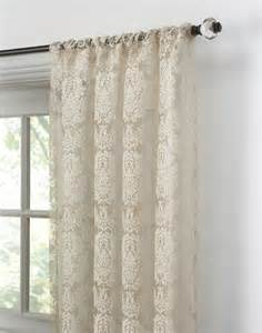 Wide Grommet Curtains Traditional Damask Lace Pole Top Curtain Panel