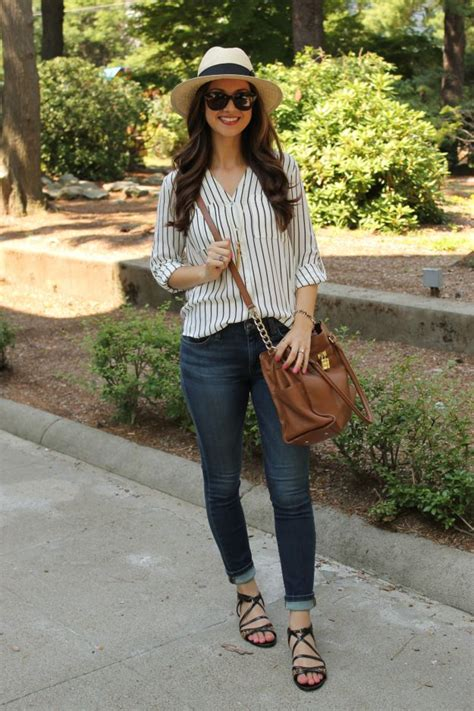 Fedora Blouse striped blouse with fedora and strappy leopard