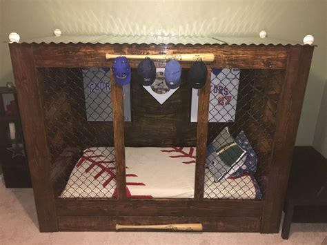 baseball bed baseball dugout bed that easton s daddy made for him