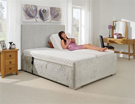 lucca adjustable bed  luxury silver pastiche fabric