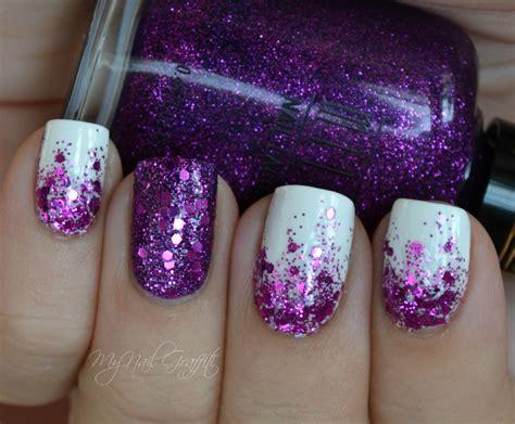 glittery purple nail art nail art semplici purple glitter gradient