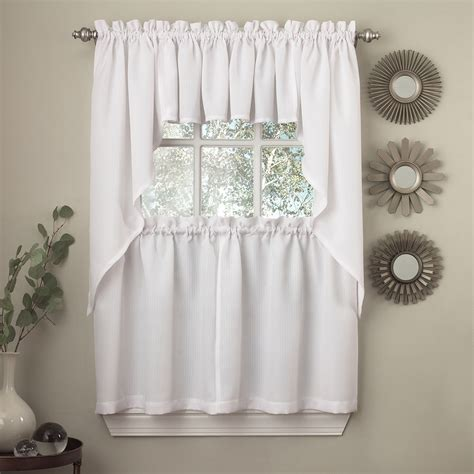 opaque ribcord kitchen curtain pieces tiers valances