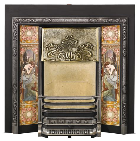 Nouveau Fireplace Tiles by Nouveau Tiled Fireplace Fronts Stovax Traditional