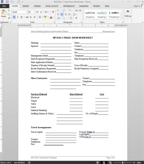 show templates trade show worksheet template
