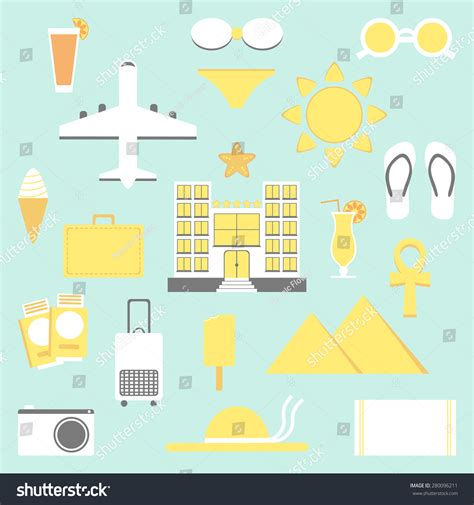 Elements Of My Vacation by Summer Vacation Set Vacation Isolated Elements Stock