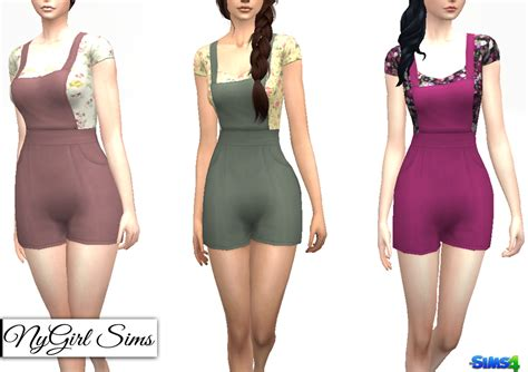 sims 4 overall shorts nygirl sims 4 overall shorts with floral t shirt