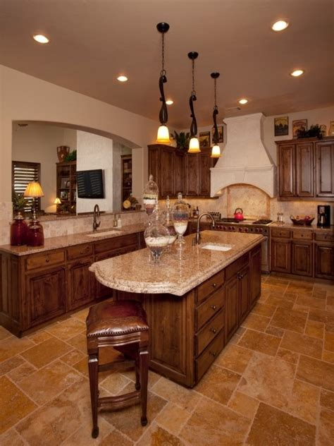 mediterranean kitchens mediterranean kitchen dark floor lighter counter top