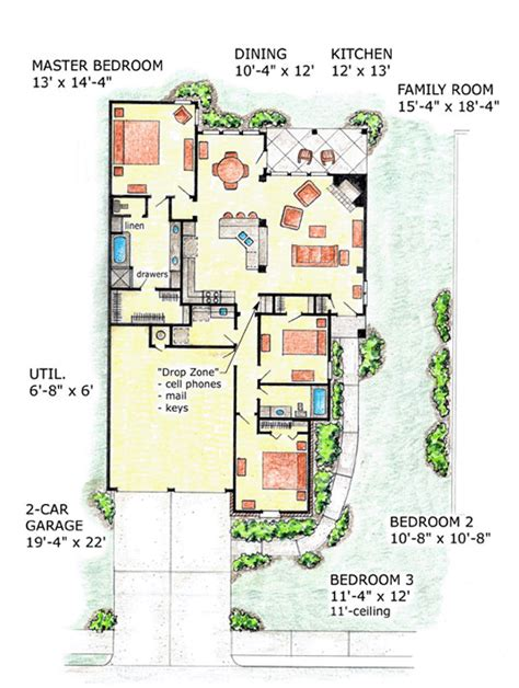 House Plan 56508 At Familyhomeplans Com 1600 Square Foot Bungalow Floor Plans
