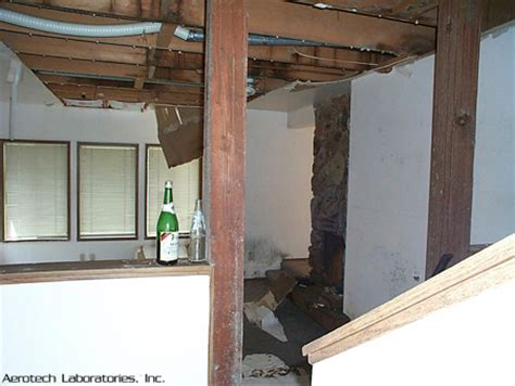 second floor bathroom leak picture of extensive water damage from 2nd floor leak with aspergillus on wall in the