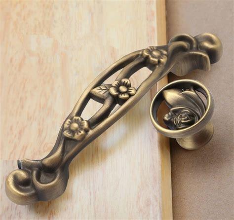 Vintage Kitchen Cabinet Pulls by 3 75 Quot Antique Bronze Cabinet Handles Pulls Flower Dresser