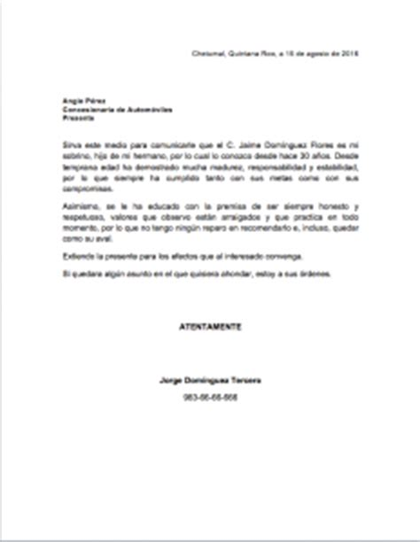 Carta De Trabajo Familiar by Carta De Recomendaci 243 N Familiar Gt Formatos Y Ejemplos