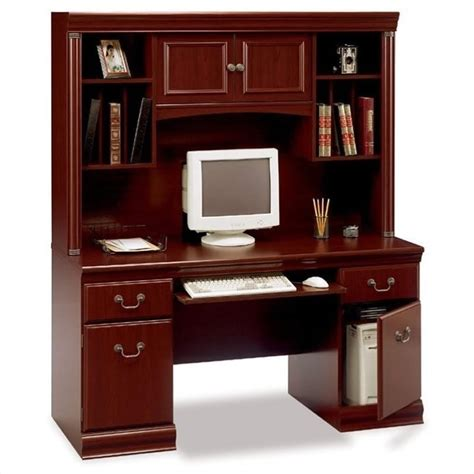 Bush Birmingham Wood Credenza W Hutch Harvest Cherry Cherry Computer Desk With Hutch
