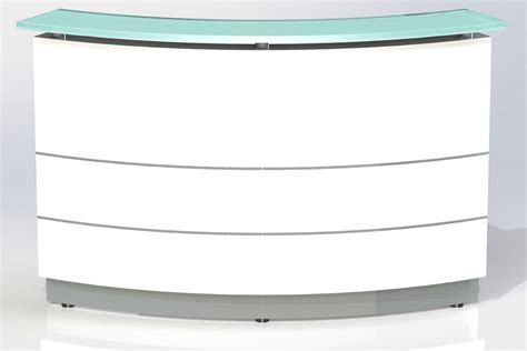 polaris curved white reception counter office stock