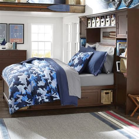 hton storage bed and bookcase tower set classic camo quilt sham pbteen