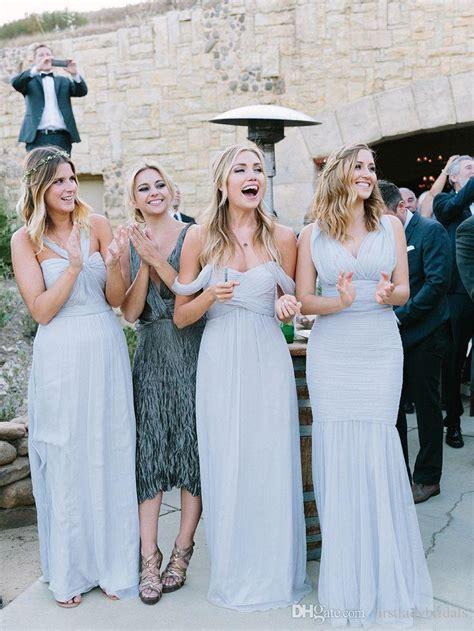 bridesmaid dresses 2016 light sky blue chiffon ruched the shoulder summer wedding