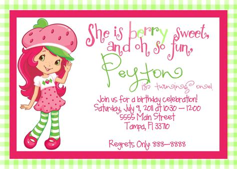 Printable Strawberry Shortcake Birthday By Magicbymarcy On Etsy Strawberry Shortcake Invitation Template Free