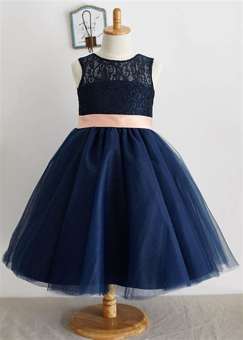 Cat Blue Dress tutu navy blue lace tulle flower dress with pink bow sash