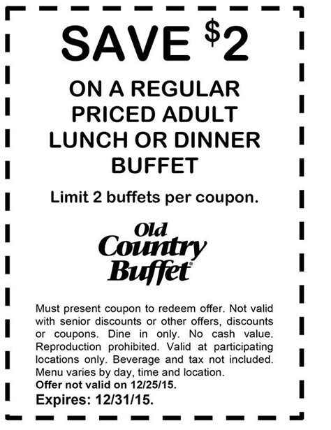 Old Country Buffet 2 Off Coupon Through December 31 Home Country Buffet Coupons