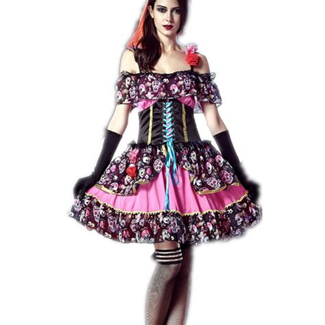 Dress Of The Day Thisbe Dress by Day Of The Dead Costume Skull Print Mexico