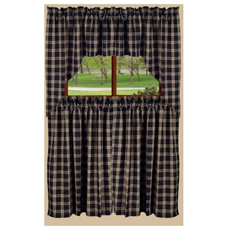 Black Tier Curtains Middletown Check Tier Curtain Black