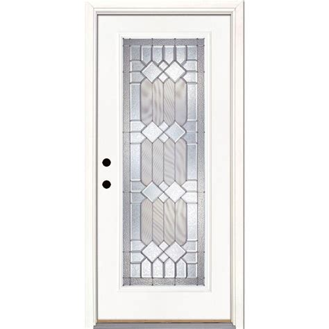 Fiberglass Exterior Doors Home Depot Feather River Doors 33 5 In X 81 625 In Mission Pointe Zinc Lite Unfinished Smooth