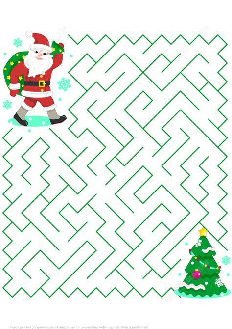 printable christmas puzzle games christmas maze puzzle with santa free printable puzzle games