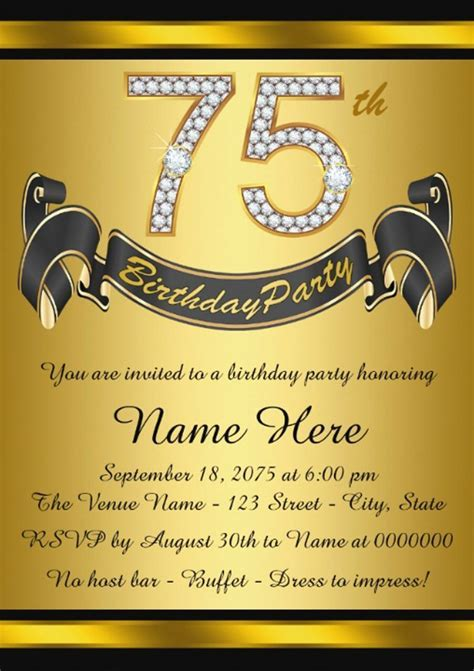 16  75th birthday invitations Unique Ideas   Birthday