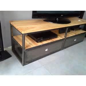 meuble tv industriel en m 233 tal et bois vieillis