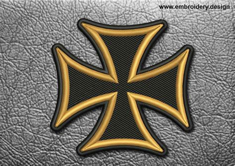 embroidery design cross biker patch black and yellow maltese cross