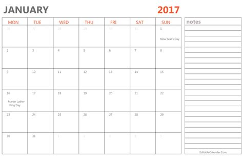 Editable January 2017 Calendar Template Ms Word Editable Schedule Template