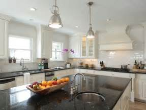 White Kitchen Cabinets With Black Granite Countertops Black Granite Countertops Transitional Kitchen