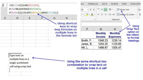 pattern composite exle wrap text and formulas on multiple lines in excel