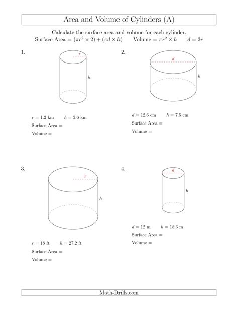 Volume Of Shapes Worksheet by Bbacklink Volume Of A Cylinder Worksheets Printable