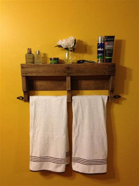Bathroom Shelves With Towel Rack Rustic Pallet Bathroom Shelf And Towel Rack Pallet Furniture Diy